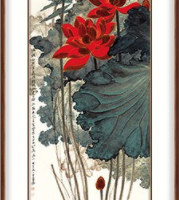 张大千 《金线荷花》108×55cm 装饰画字画竖版过道壁画走廊挂画
