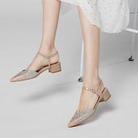 ST&SAT 星期六 2021新款潮流一字扣带后空凉鞋甜美风低跟通勤凉鞋女
