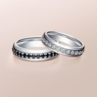 Darry Ring 明星同款结婚对戒彩钻黑钻石低调奢华白金情侣戒 定制 白18K金 男女对戒