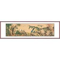 弘舍 沈铨 花鸟壁画客厅装饰画《百鸟朝凤》成品尺寸265x80cm 绢布 典雅紅褐