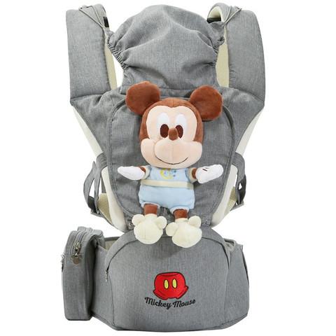 Disney 迪士尼 婴儿背带抱娃神器前抱式可横抱多功能夏季透气腰凳 灰色