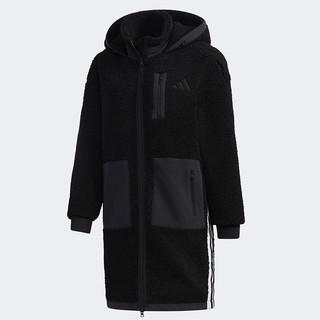 adidas 阿迪达斯 外套女装2021春季新款连帽羊羔绒外套长款运动夹克GM1428