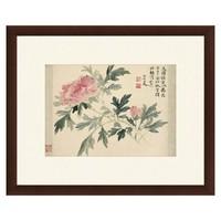 Artron 雅昌 恽寿平 花卉水墨画《牡丹图》59×48cm 宣纸 茶褐色