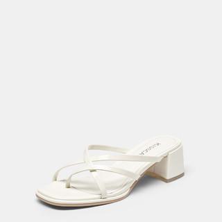 KISSCAT 接吻猫 夏季新款气质方头复古凉鞋简约小香风舒适粗跟时装拖鞋