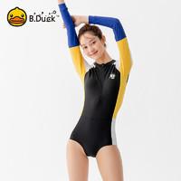 B.Duck 小黄鸭 游泳衣女士连体式泳衣 长袖三角裤性感修身显瘦泳装 温泉泳衣 黑色 L