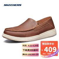 Skechers斯凯奇男鞋简约一脚套休闲鞋 美式休闲低帮鞋 65505 BRN棕色 44