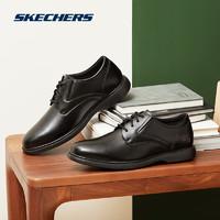 Skechers斯凯奇商务休闲鞋皮鞋男 时尚优雅德比鞋65075 黑色 41