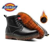 Dickies 帝客 女靴6孔系带拉链加绒真皮机车靴厚底情侣靴子 黑色(加绒款) 40(女)