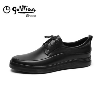 goldlion 金利来 男鞋都市时尚轻质皮鞋耐穿防滑便捷商务休闲鞋50803022201A-黑色-43码
