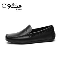 goldlion 金利来 男鞋商务套脚休闲皮鞋舒适透气乐福鞋男士一脚蹬豆豆鞋182010753ALC-黑色-43码