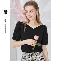 3COLOUR 三彩 D362L2021Z1099 女士亮片网纱T恤