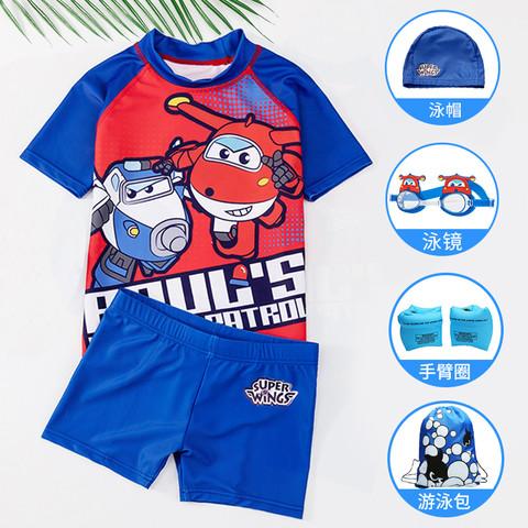 超级飞侠 儿童泳衣男童中大童宝宝小童防晒分体幼儿游泳衣婴儿泳裤