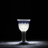 富玉 中式仿古青花玲珑小酒杯 3x5x2cm 3.4x2.2x6cm
