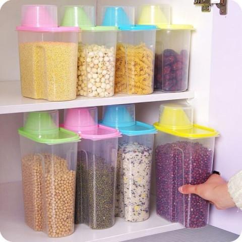 京东PLUS会员:五谷杂粮收纳盒密封透明储物盒装米桶储存罐厨房用品 加厚小号(1.9L)1个装