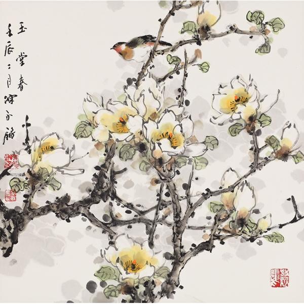 橙舍 陈永锵《玉堂春》60*60cm 装饰画 宣纸
