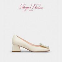 Roger Vivier女鞋Tres Vivier金属扣高跟鞋牛皮粗跟方头复古单鞋 38.5