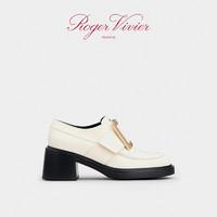 Roger Vivier女鞋Viv Rangers金属扣乐福鞋漆皮粗跟鞋复古单鞋 36