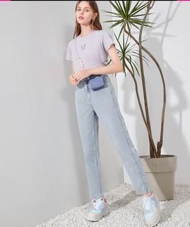 3COLOUR 三彩 2021夏季新款休闲牛仔长裤简约直筒设计感显瘦老爹裤下装