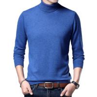 三十秋 男士高领羊毛衫 8825 云之蓝 M