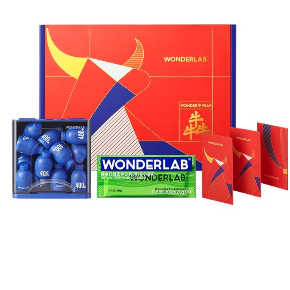 wonderlab 牛牪犇家庭分享装礼盒 小蓝瓶 益生菌 2g*30瓶 + 膳食纤维粉 20g*10条
