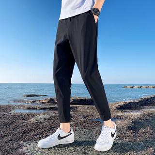 意邦伦男士冰丝裤子2021年夏季新款修身弹力运动裤黑色凉感休闲裤