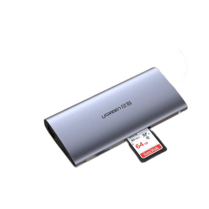 UGREEN 绿联 CM121 Type-C扩展坞 八合一 0.15m 灰色 HDMI款