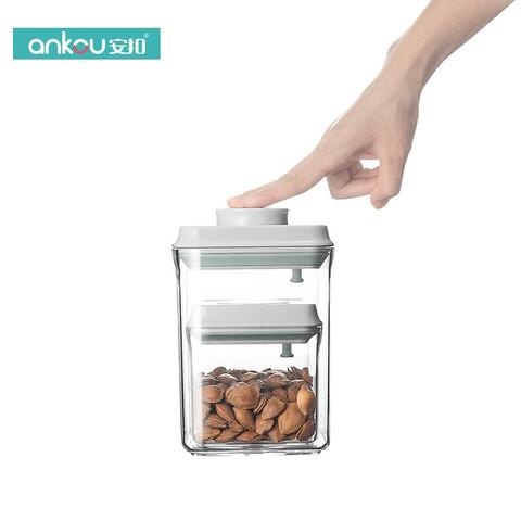 安扣厨房用透明零食干果密封罐子大容量坚果收纳罐密封罐塑料食品 正方形2件套 0.5L+1.5L