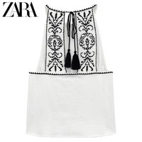 ZARA [折扣季] 女装 棉质挂脖领上衣 06895023251