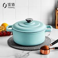 hommy 佳佰 珐琅锅22cm 铸铁搪瓷汤锅 炖肉煲汤煮面锅电磁炉煤气灶通用 薄荷绿
