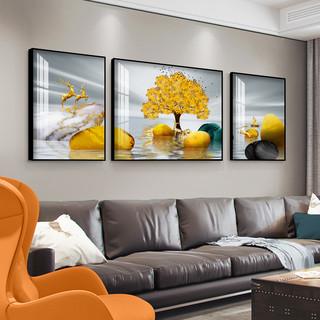 石来运转客厅装饰画现代简约壁画北欧办公室沙发背景墙画三联挂画 左右30×50cm×2+中间70×50cm