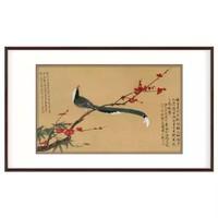 弘舍 于非闇 植物花卉装饰画《红梅鹧鸪图》成品尺寸95x60cm 宣纸  雅致胡桃
