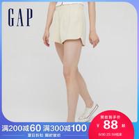 Gap女装纯棉透气运动短裤845032 2021夏季新款女士纯色宽松休闲裤 奶油米色