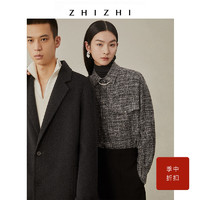 ZHIZHI 致知 白露 磨毛格子衬衫女新款2021年小香风设计感复古长袖