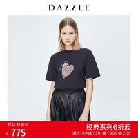 DAZZLE 地素 春装款豹纹感爱心短袖T恤上衣女2C3B3071A