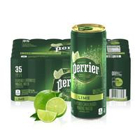 PLUS会员:perrier 巴黎水 青柠味气泡水 天然矿泉水 250ml*35罐