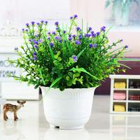 礼赫家饰 仿真花盆景 紫色满天星+白色花边瓶套装