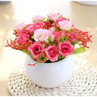 礼赫家饰 仿真花套装  20头粉色钻石玫+陶瓷小白瓶