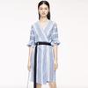 MO&Co./摩安珂 MBO2DRSX02T01 V领条纹连衣裙