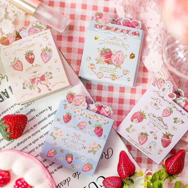 六折便利贴 甜蜜庄园系列 可爱草莓备忘录标记创意手账可撕便签纸