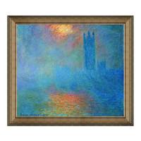 Artron 雅昌 莫奈《浓雾中的伦敦国会大厦》95×84cm 原作版画 沙发背景墙装饰画
