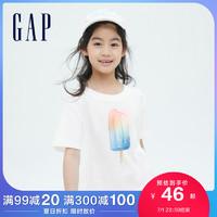 Gap女童可爱纯棉透气短袖T恤833947夏季2021新款童装洋气宽松上衣