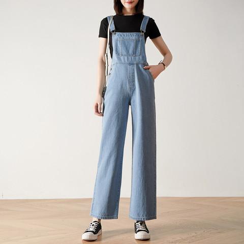 YERAD 娅丽达 高腰牛仔背带裤女宽松显瘦直筒裤轻薄减龄阔腿裤女
