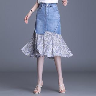 LOUIS YAO 白鹿语 YU214510604  女士高腰休闲中长款半身裙