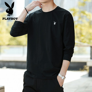 PLAYBOY 花花公子 长袖T恤男士纯色薄款圆领秋衣上衣服外穿打底衫 SYPB107 黑色 L