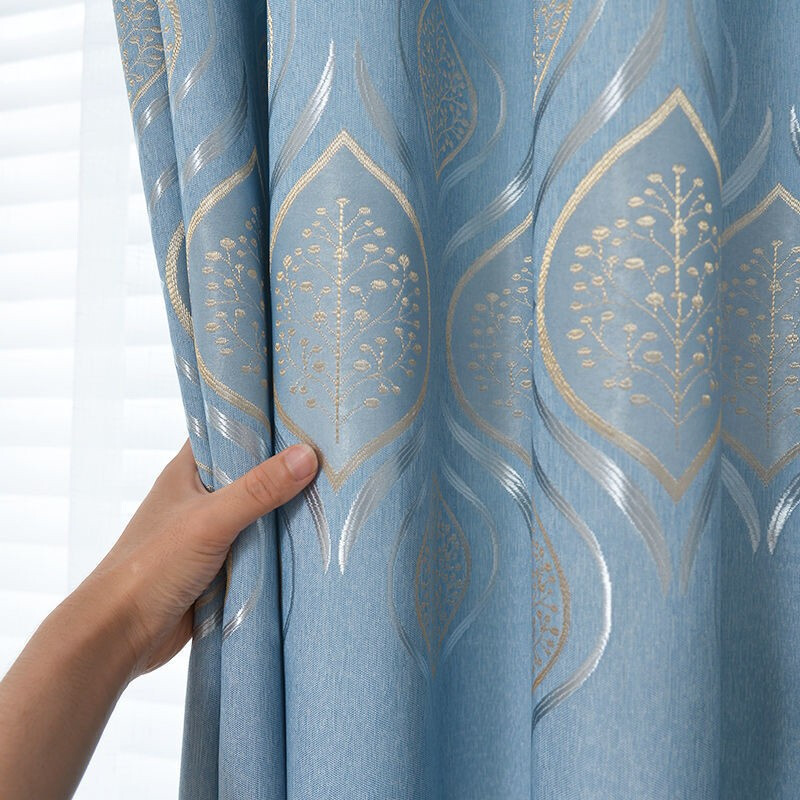 阿黎 遮光窗帘布料 蓝色挂钩式 180*240cm 单片装