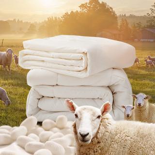 MENDALE 梦洁家纺 2条装四季可用蚕丝羊毛二合一被羊毛被蚕丝被