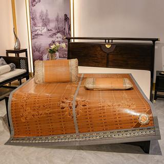 琳豆豆 竹席凉席1.8m床家用夏季席折叠冬夏两用1.5米1.2席子 B-古典花 1.5m(5英尺)床 单席子