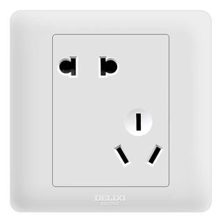 DELIXI 德力西 开关插座面板 CD812系列 10A斜五孔插座 优雅白