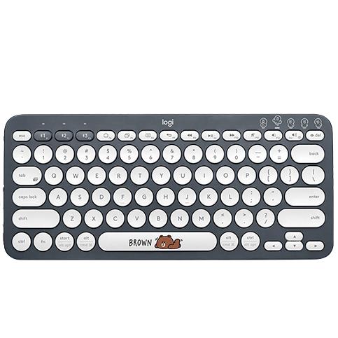 logitech 罗技 K380 布朗熊 79键 蓝牙 无线薄膜键盘 白色 无光