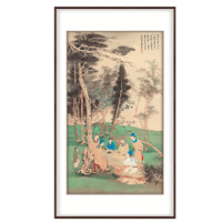 弘舍 张大千国画 原作版画《松下高士文会图》成品尺寸90x150cm 宣纸 雅致胡桃